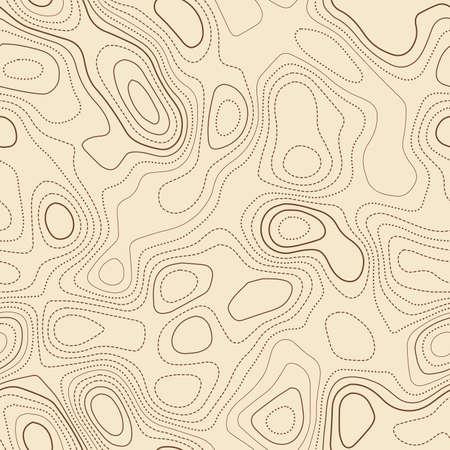 Topographic map. Actual topographic map. Seamless design, divine tileable isolines pattern. Vector illustration. Ilustração