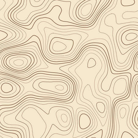Topographic map background. Actual topographic map. Seamless design, unusual tileable isolines pattern. Vector illustration.