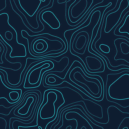 Topographic map background. Actual topography map. Futuristic seamless design, bewitching tileable isolines pattern. Vector illustration.