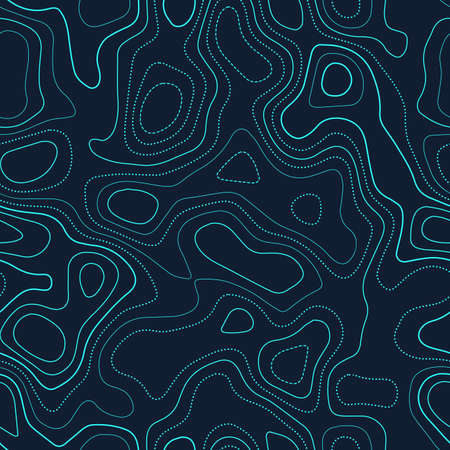 Amazing topography. Actual topography map. Futuristic seamless design, brilliant tileable isolines pattern. Vector illustration.