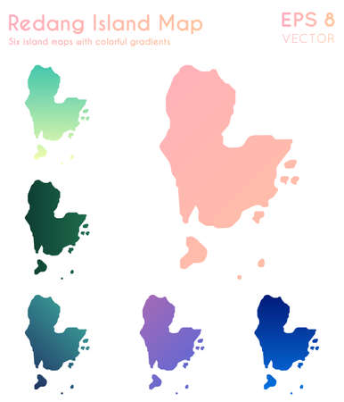 Map of Redang Island with beautiful gradients. Authentic set of Redang Island maps. Bold vector illustration.