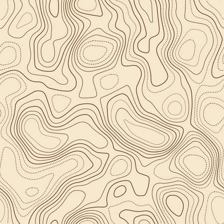 Amazing topography. Actual topographic map. Seamless design, gorgeous tileable isolines pattern. Vector illustration.