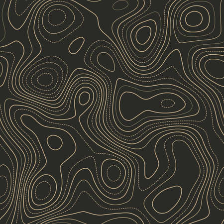 Contour lines. Actual topography map. Seamless design. Symmetrical tileable isolines pattern, vector illustration.