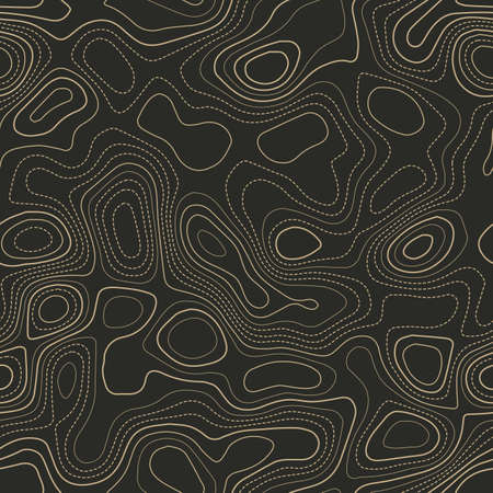 Amazing topography. Actual topography map. Seamless design. Fascinating tileable isolines pattern, vector illustration. Ilustração