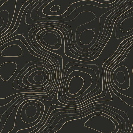 Amazing topography. Admirable topography map. Seamless design. Fabulous tileable isolines pattern, vector illustration.