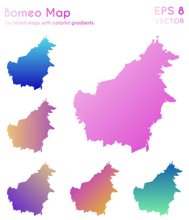 Map of Borneo with beautiful gradients. Appealing set of Borneo maps. Alluring vector illustration.