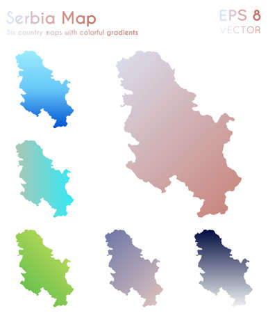 Map of Serbia with beautiful gradients. Amazing set of Serbia maps. Ecstatic vector illustration. Ilustração