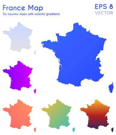 Map of France with beautiful gradients. Adorable set of France maps. Bold vector illustration.