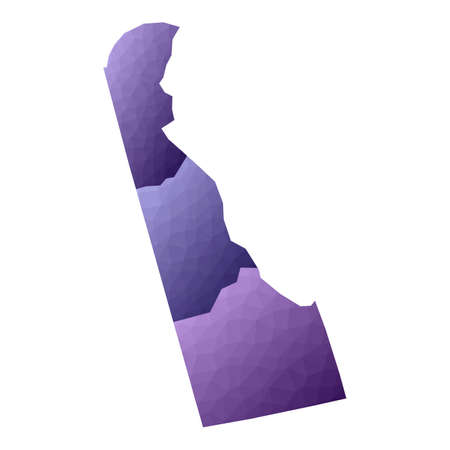 Delaware map. Geometric style us state outline with counties. Appealing violet vector illustration.