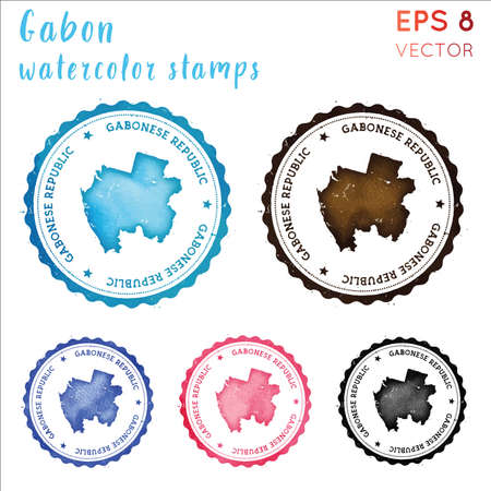Gabon stamp. Watercolor country stamp with map. Vector illustration.