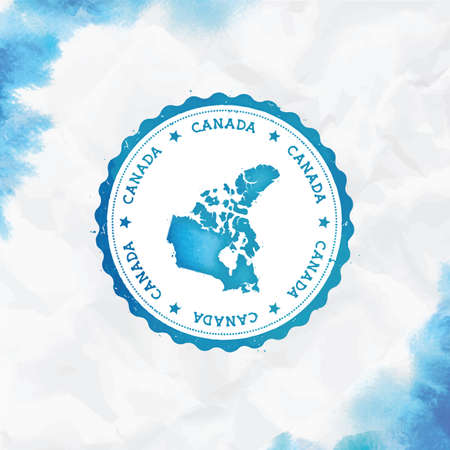 Canada watercolor round rubber stamp with country map. Turquoise Canada passport stamp with circular text and stars, vector illustration. Vector Illustration