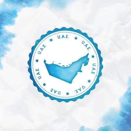 Tampon en caoutchouc rond aquarelle des Émirats arabes unis avec carte du pays. Tampon de passeport Turquoise Emirats Arabes Unis avec texte circulaire et étoiles, illustration vectorielle.
