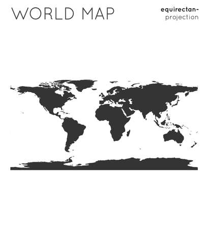 World map. Globe in equirectangular (plate carree) projection, plain style. Modern vector illustration.