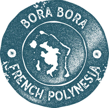 Bora Bora map vintage stamp. Retro style handmade label, badge or element for travel souvenirs. Blue rubber stamp with island map silhouette. Vector illustration.