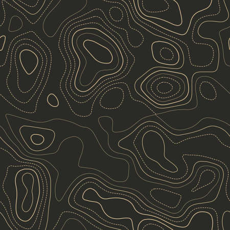 Contour lines. Actual topography map. Seamless design. Comely tileable isolines pattern, vector illustration.