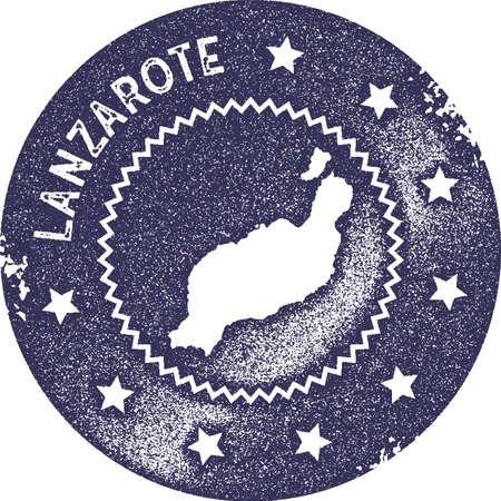 Lanzarote map vintage stamp. Retro style handmade label, badge or element for travel souvenirs. Deep purple rubber stamp with island map silhouette. Vector illustration.