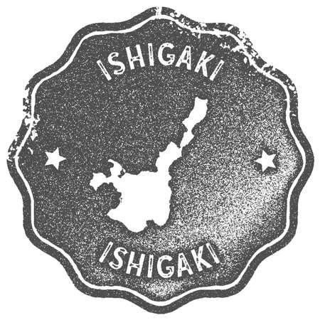 Ishigaki map vintage stamp. Retro style handmade label, badge or element for travel souvenirs. Grey rubber stamp with island map silhouette. Vector illustration.  イラスト・ベクター素材