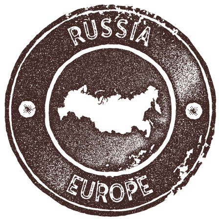 Russia map vintage stamp. Retro style handmade label, badge or element for travel souvenirs. Brown rubber stamp with country map silhouette. Vector illustration. Çizim