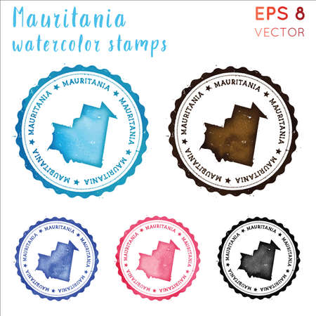Mauritania stamp. Watercolor country stamp with map. Vector illustration.