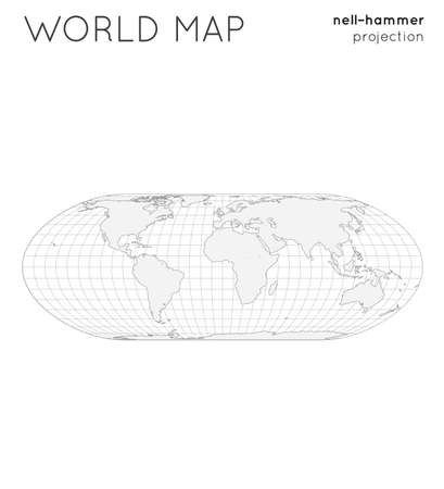 World map. Globe in nell-hammer projection, with graticule lines style. Outline vector illustration. Ilustrace