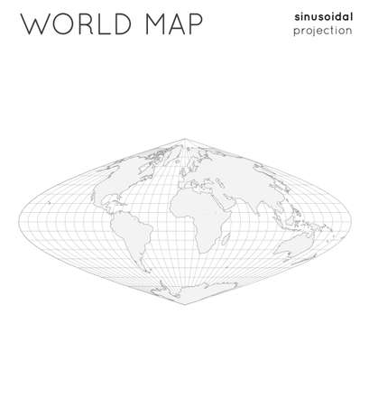 World map. Globe in sinusoidal projection, with graticule lines style. Outline vector illustration. Vectores