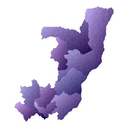 Congo map. Geometric style country outline. Exotic violet vector illustration. Vektoros illusztráció