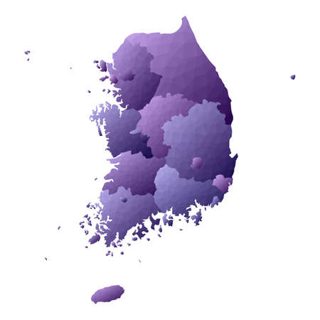 South Korea map. Geometric style country outline. Tempting violet vector illustration. Imagens - 121130041