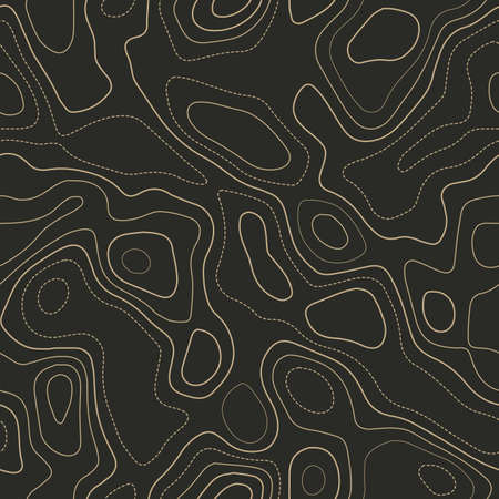 Amazing topography. Actual topography map. Seamless design. Authentic tileable isolines pattern, vector illustration. Ilustração