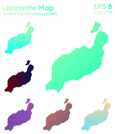 Map of Lanzarote with beautiful gradients. Astonishing set of Lanzarote maps. Ecstatic vector illustration.