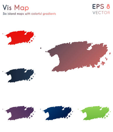 Map of Vis with beautiful gradients. Awesome set of Vis maps. Juicy vector illustration. Illustration
