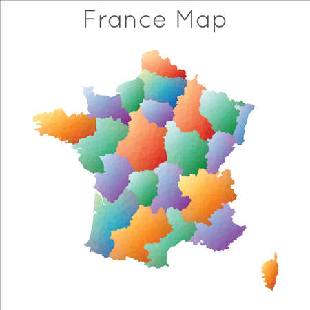 Low Poly map of France. France geometric polygonal, mosaic style map.