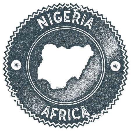Nigeria map vintage stamp. Retro style handmade label, badge or element for travel souvenirs. Dark blue rubber stamp with country map silhouette. Vector illustration.