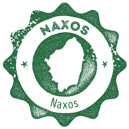Naxos map vintage stamp. Retro style handmade label, badge or element for travel souvenirs. Dark green rubber stamp with island map silhouette. Vector illustration.