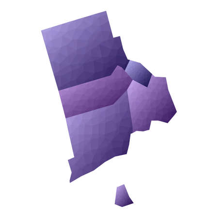 Rhode Island map. Geometric style us state outline with counties. Enchanting violet vector illustration.