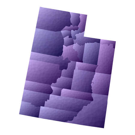 Utah map. Geometric style us state outline with counties. Exquisite violet vector illustration.