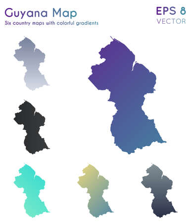 Map of Guyana with beautiful gradients. Adorable set of Guyana maps. Great vector illustration.