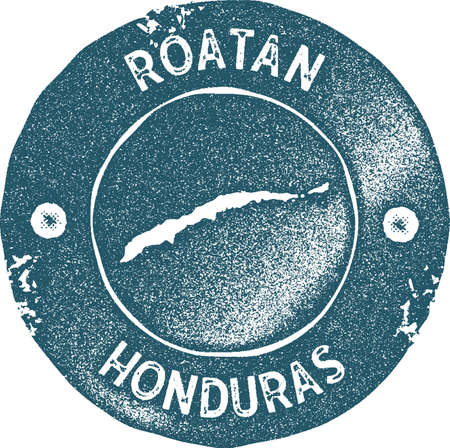 Roatan map vintage stamp. Retro style handmade label, badge or element for travel souvenirs. Blue rubber stamp with island map silhouette. Vector illustration.