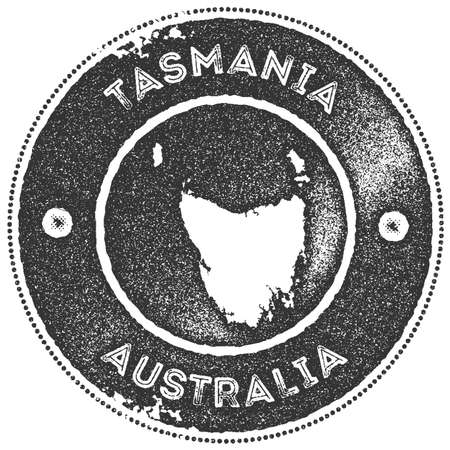 Tasmania map vintage stamp. Retro style handmade label, badge or element for travel souvenirs. Dark grey rubber stamp with island map silhouette. Vector illustration. Illustration