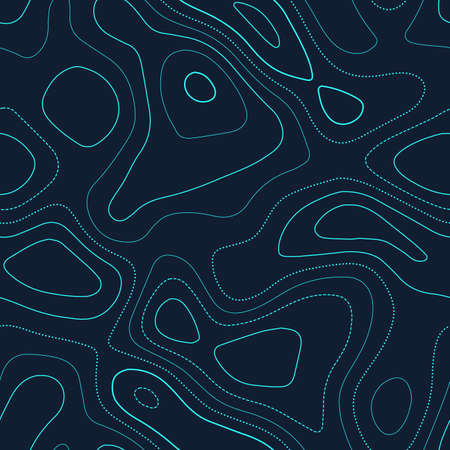 Topographic map background. Actual topography map. Futuristic seamless design, mesmeric tileable isolines pattern. Vector illustration.
