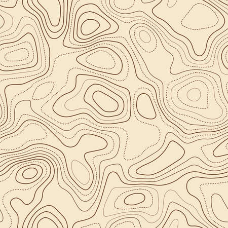 Contour lines. Actual topographic map. Seamless design, energetic tileable isolines pattern. Vector illustration.