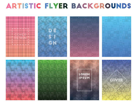 Artistic Flyer Backgrounds. Alluring geometric patterns. Actual background. Vector illustration.