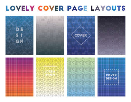 Lovely Cover Page Layouts. Admirable geometric patterns. Superb background. Vector illustration.