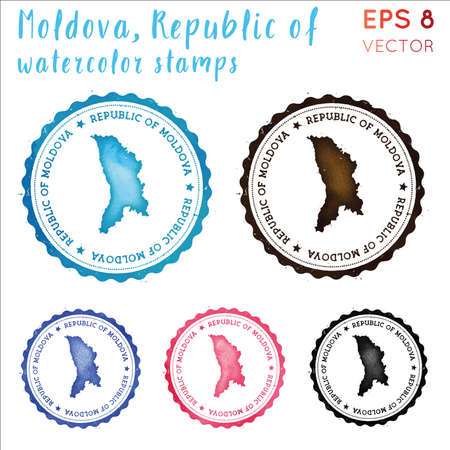 Moldova stamp. Watercolor country stamp with map. Vector illustration.