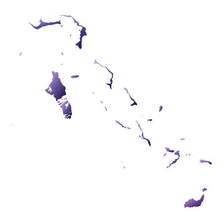Bahamas map. Geometric style country outline. Classy violet vector illustration. Illustration