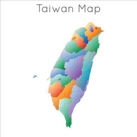 Low Poly map of Taiwan. Taiwan geometric polygonal, mosaic style map.