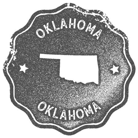 Oklahoma map vintage stamp. Retro style handmade label, badge or element for travel souvenirs. Grey rubber stamp with us state map silhouette. Vector illustration. Ilustração