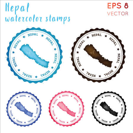 Nepal stamp. Watercolor country stamp with map. Vector illustration.