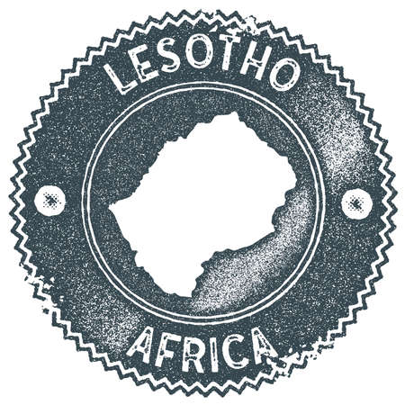 Lesotho map vintage stamp. Retro style handmade label, badge or element for travel souvenirs. Dark blue rubber stamp with country map silhouette. Vector illustration.
