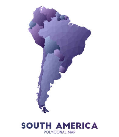South-america Map. admirable low poly style continent map. Delightful vector illustration.