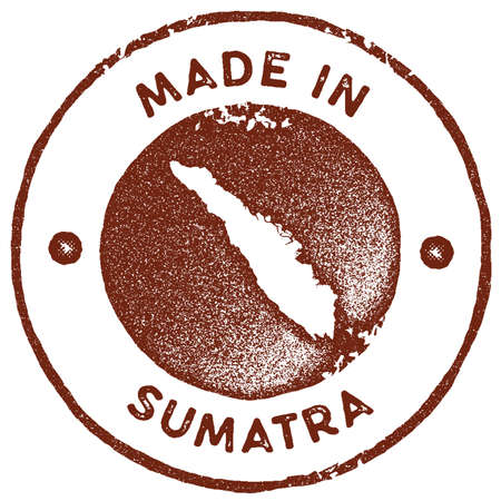 Sumatra map vintage stamp. Retro style handmade label, badge or element for travel souvenirs. Red rubber stamp with island map silhouette. Vector illustration. Vetores